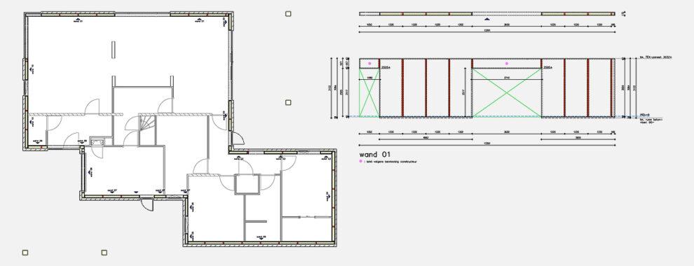 De bouwtekeningen van project Baarschot zijn door Optibouw verwerkt tot paneel tekeningen