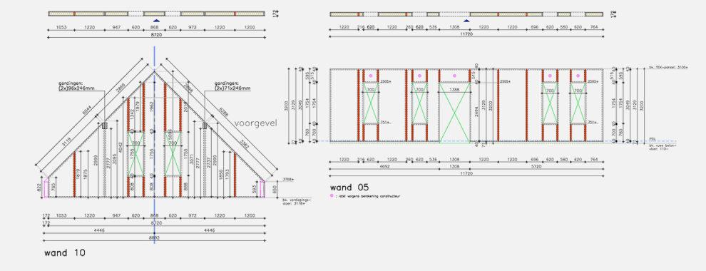 De bouwtekeningen van project Mierlo zijn door Optibouw verwerkt tot paneel tekeningen